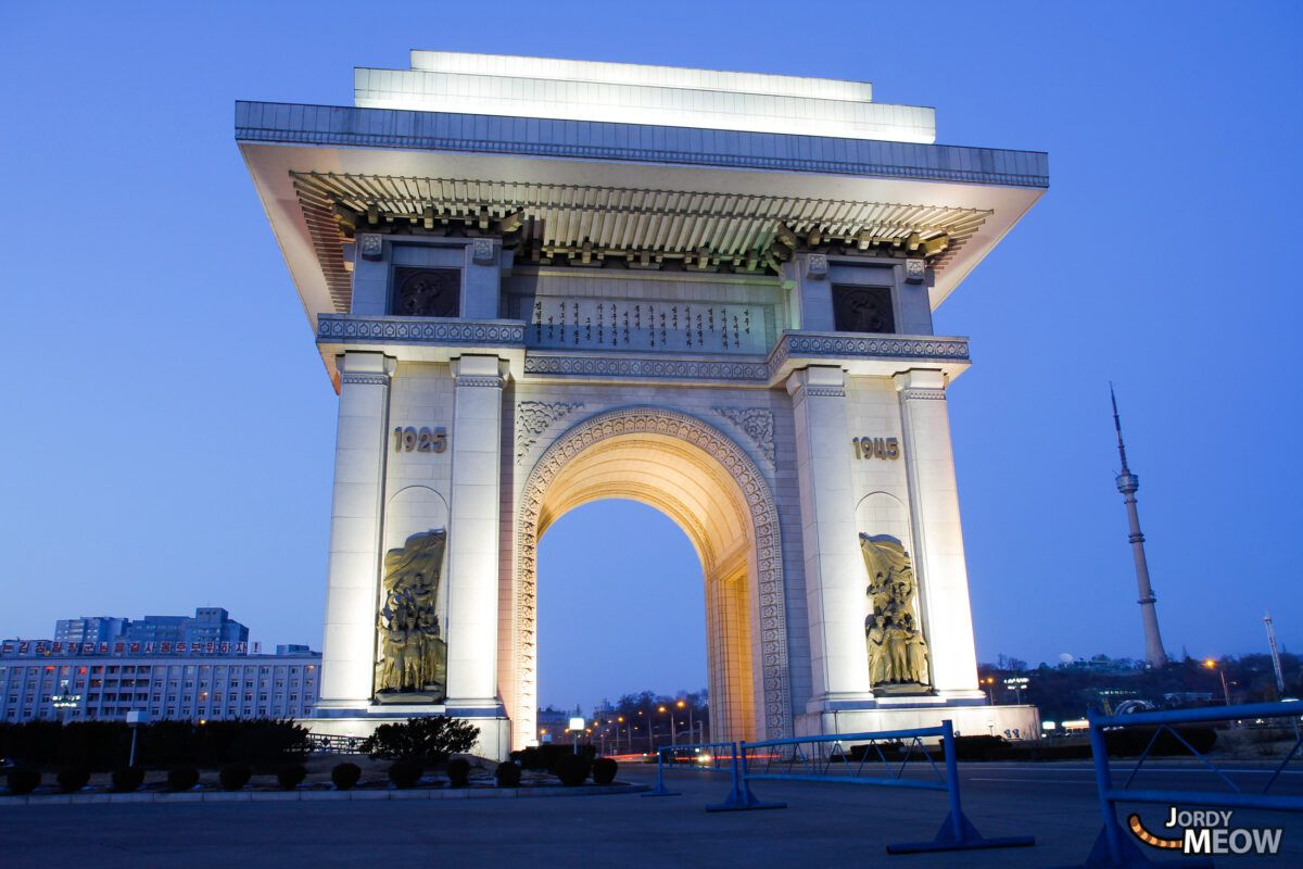 Arch of Triumph by night in Pyongyang