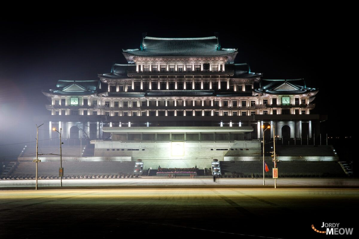 Grand People's Study House by night in Pyongyang